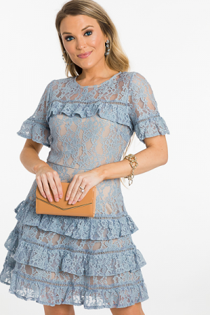 Lady Mary Dress, Blue Lace