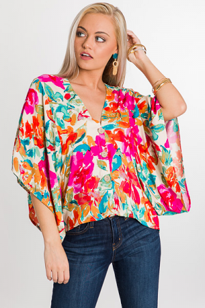 Watercolor Blooms Button Top