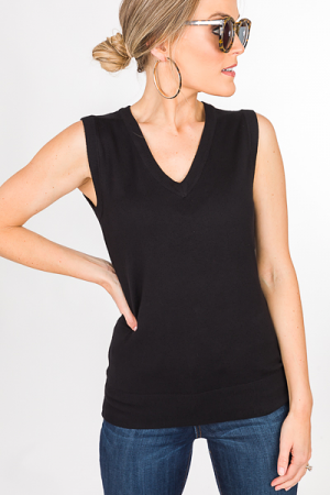 Alice Sleeveless Sweater, Black