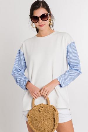 Stripe Sleeve Sweatshirt