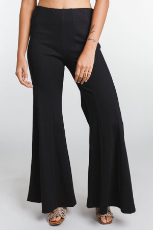 Seamed Stretch Flares, Black