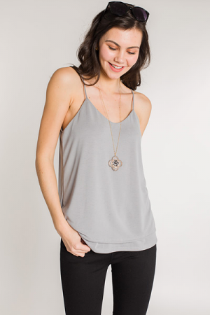 Double Layer Knit Cami, Grey