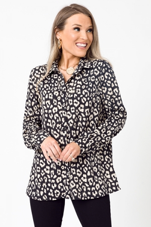 Lina Leopard Button Down, Black
