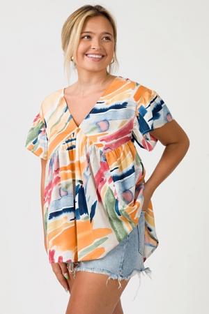 Watercolor Babydoll Top, Tangerine