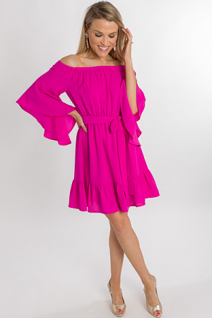 Fitz Off Shoulder Dress, Pink