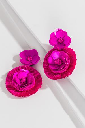 Fuchsia Sequin Flower Ear
