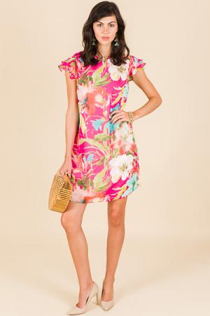 Spring Sonnet Dress, Pink Floral