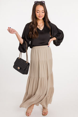 Satin Feel Maxi Skirt, Oxford