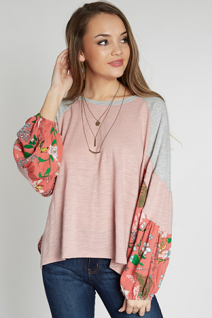 Floral Puff Sleeve Top, Blush