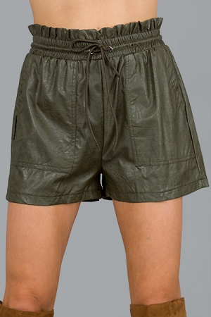 Paper Bag Leather Shorts, Olive