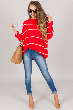 Sybil Sweater, Red Cream