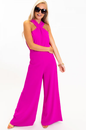 Cross Neck Tank, Magenta