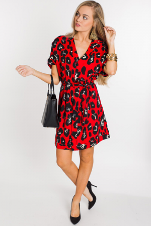 Belted Red Leopard Dress