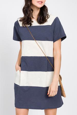 Cotton Colorblock Dress, Navy
