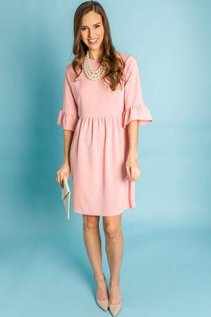 Brit Bell-Sleeve Dress, Peach