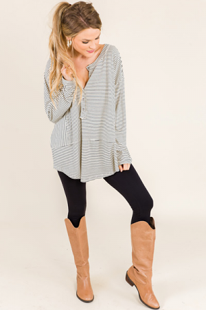 Striped Henley, Oatmeal