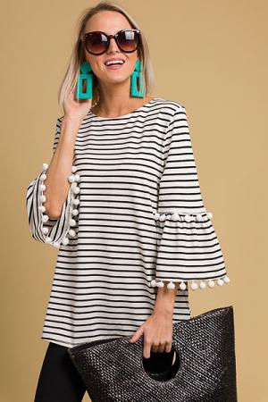 Pom Pom Sleeves Stripe Tunic