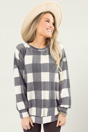 Knit Plaid Pullover, Charcoal