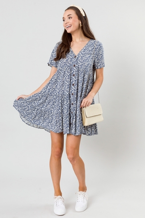 Floral Buttons Tier Dress, Blue
