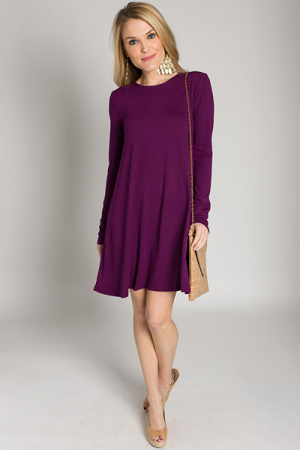 Swing Pocket Dress, Plum