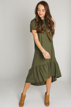 High Low Woven Maxi, Olive
