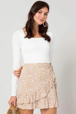 Wrap Front Speck Skirt, Beige