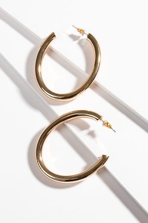Oval Hoops, Polished Gold