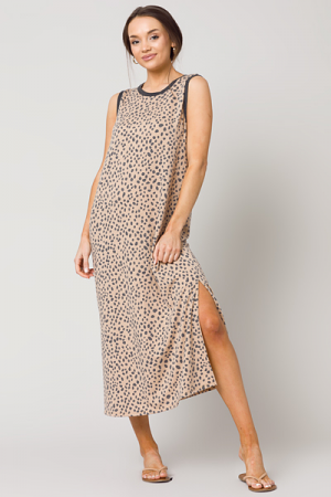Spotted Soft Knit Midi, Taupe