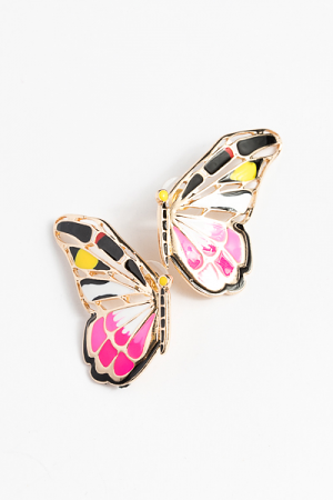 Epoxy Butterfly Earring, Pink