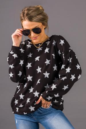 Star Doodles Pullover, Black