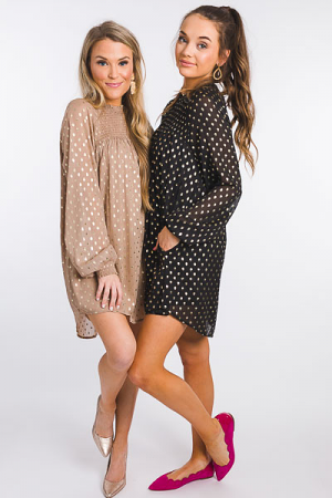 Gold Spots Smock Dress, Black