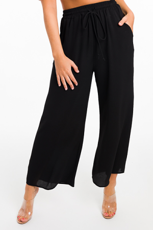 Solid Crepe Pants, Black
