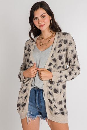 Grey Leopard Cardi