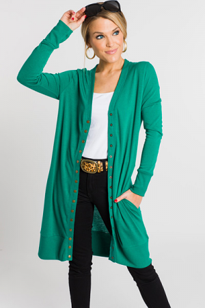 Make It Snappy Cardigan, Green