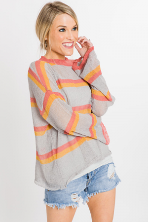 Modern Stripe Mock Neck