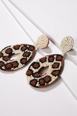 Leopard Teardrop Bead Earring