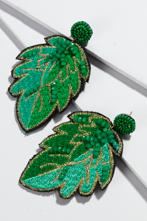 Fabric Leaf Earring, Green