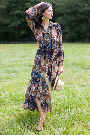 Neutral Paisley Maxi
