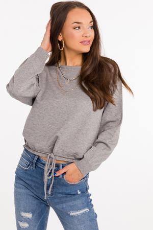 Drawstring Hem Sweater, Grey