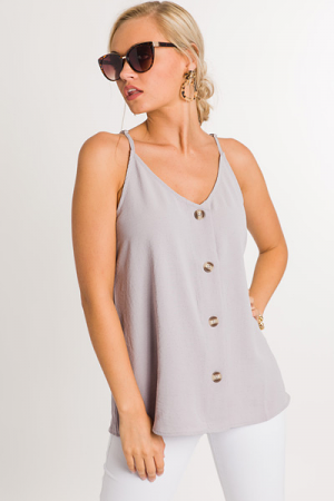 Buttoned Up Cami, Grey