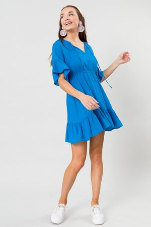 Keller Linen Dress, Cyan Blue