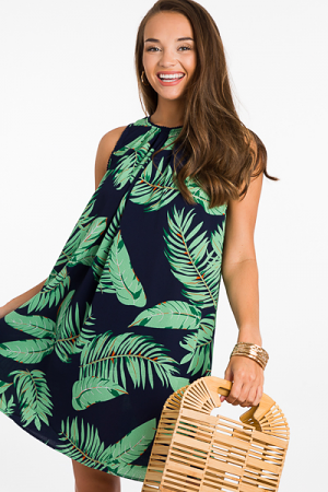 Island Time Palm Dress, Navy