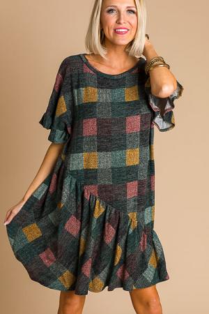 Checker Sweater Dress