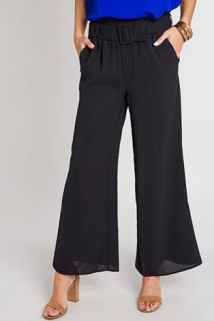 Wide Leg Belted Pants, Black