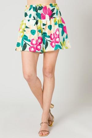 Smock Shorts, Mint Floral