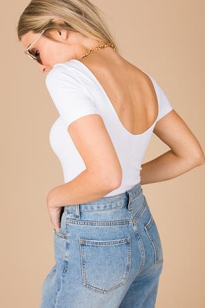 Scoop Back Bodysuit, White