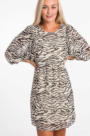 Zebra Chiffon Dress, Natural
