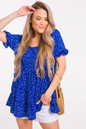 Spot Tiered Blouse, Royal