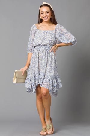 Gardener Floral Dress, Blue