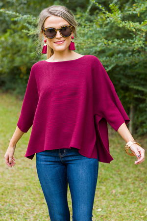 Spring Fling Sweater, Burgundy